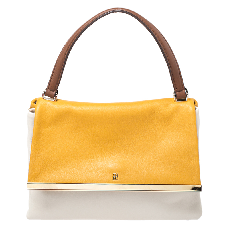 Carolina Herrera Tricolor Leather Top Handle Bag