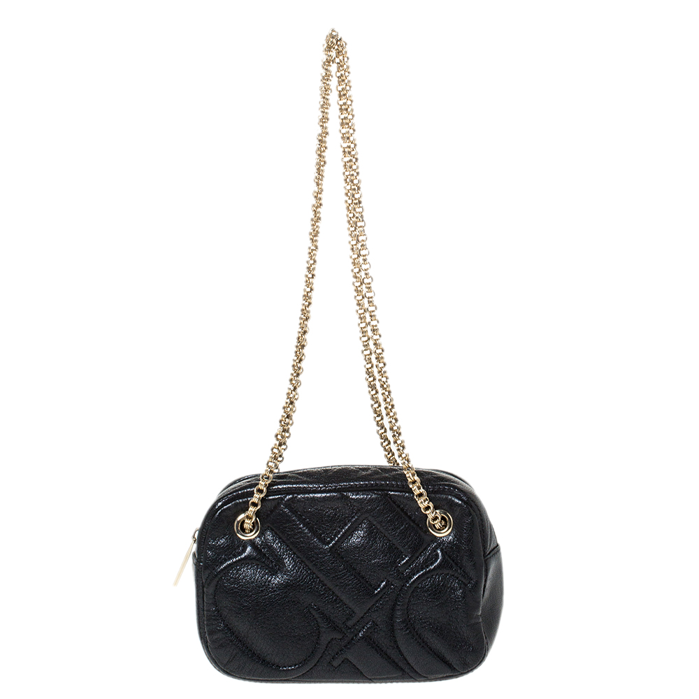 Carolina Herrera Black Leather Embossed Logo Camera Bag