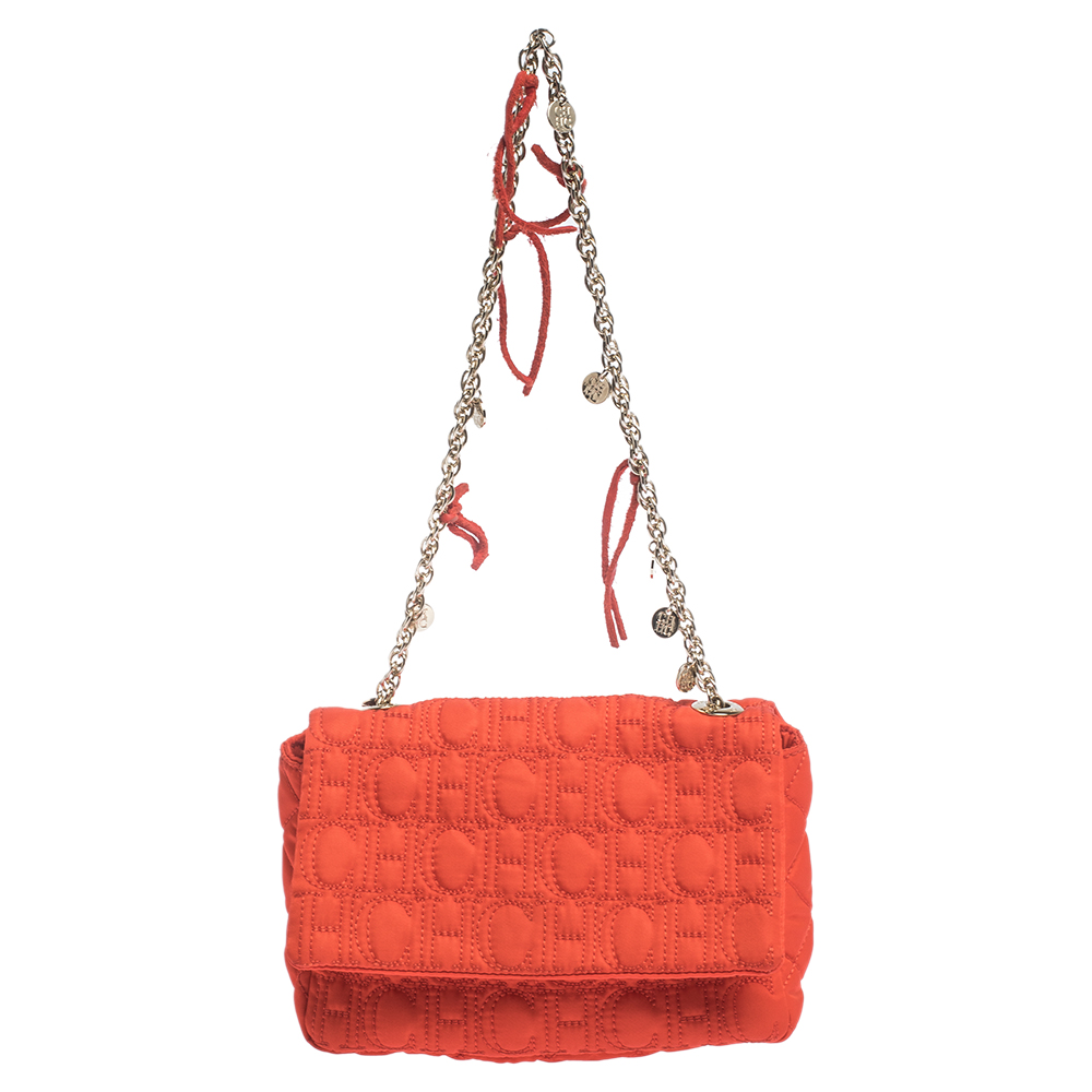 Carolina Herrera Orange Monogram Nylon Shoulder Bag
