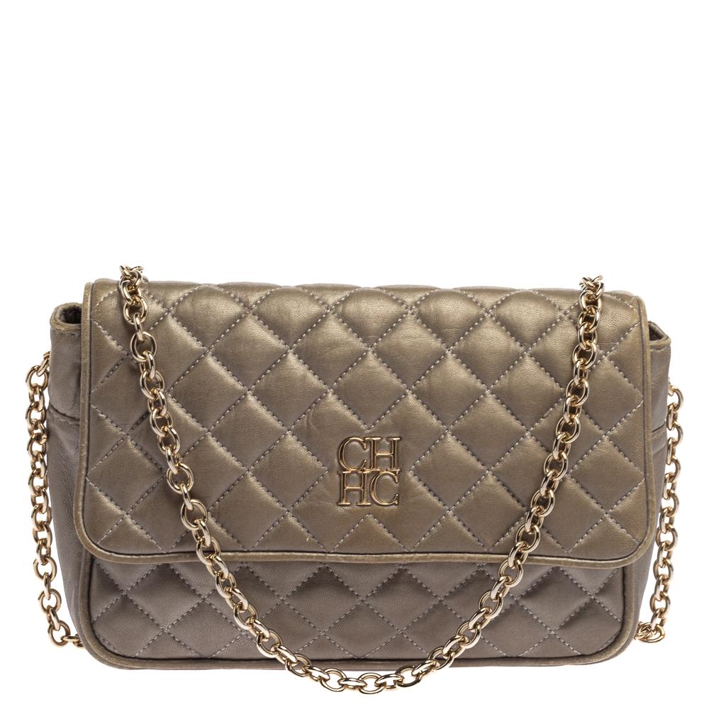 Pre-owned Ch Carolina Herrera Carolina Herrera Grey Quilted Leather Shoulder Bag