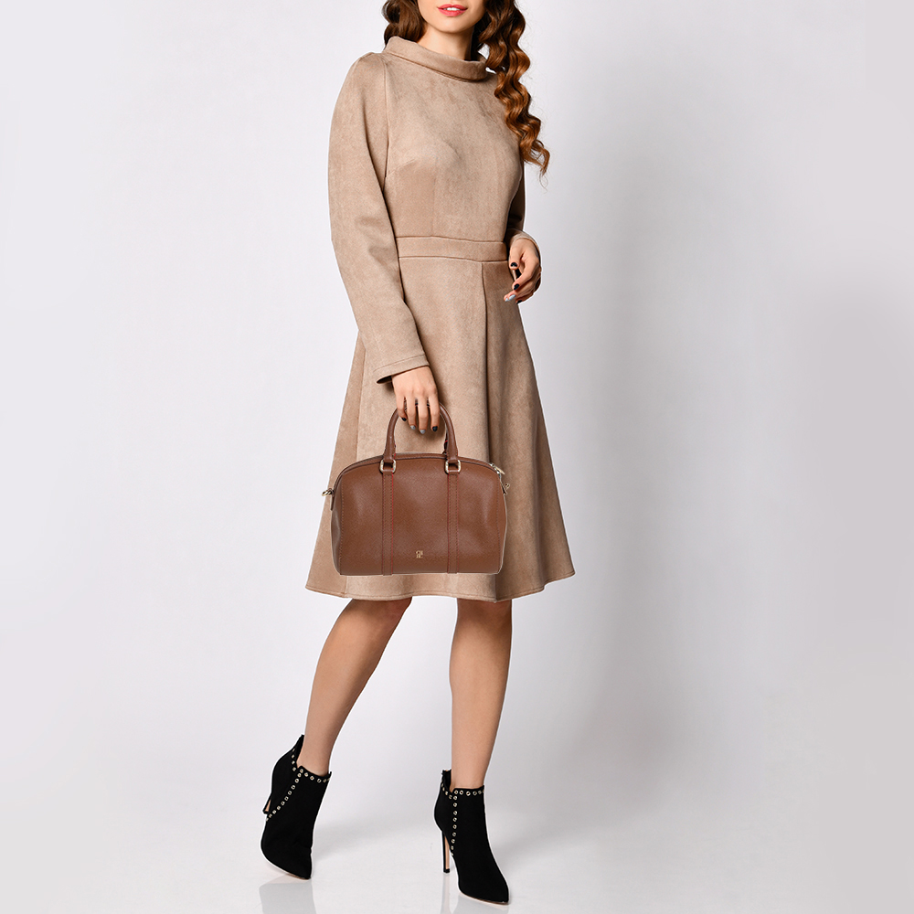Carolina Herrera Brown Textured Leather Mini Andy Boston Bag  - buy with discount