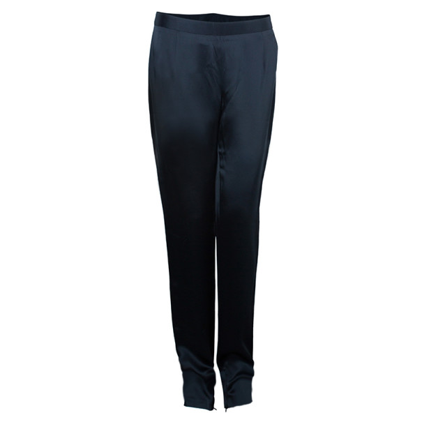 Chalayan Black Satin Slim Pants M
