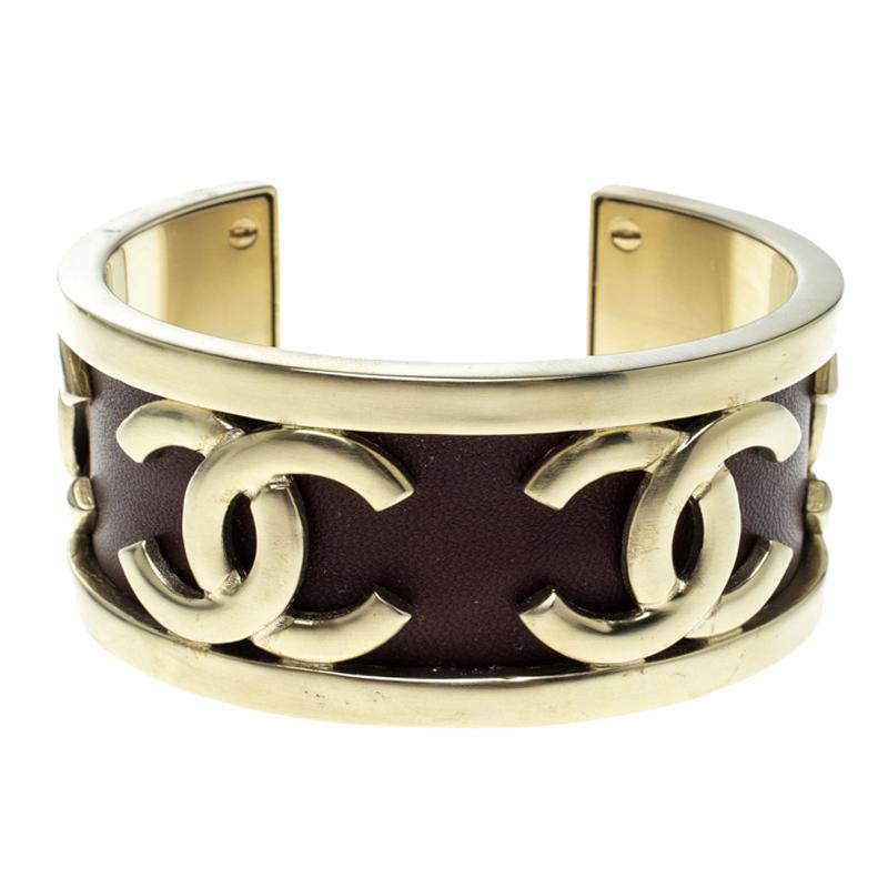 4073cb5f1896 Buy Chanel CC Burgundy Leather SIlver Tone Open Cuff Bracelet 126030 ...