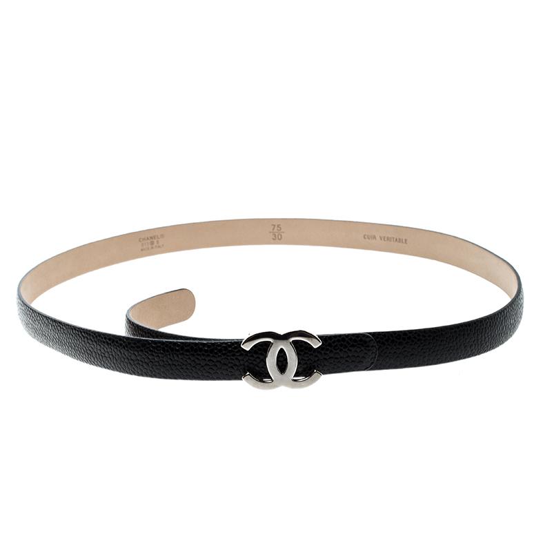 Buy Chanel Black Leather Skinny CC Belt 75cm 141766 at best price  fa426978de