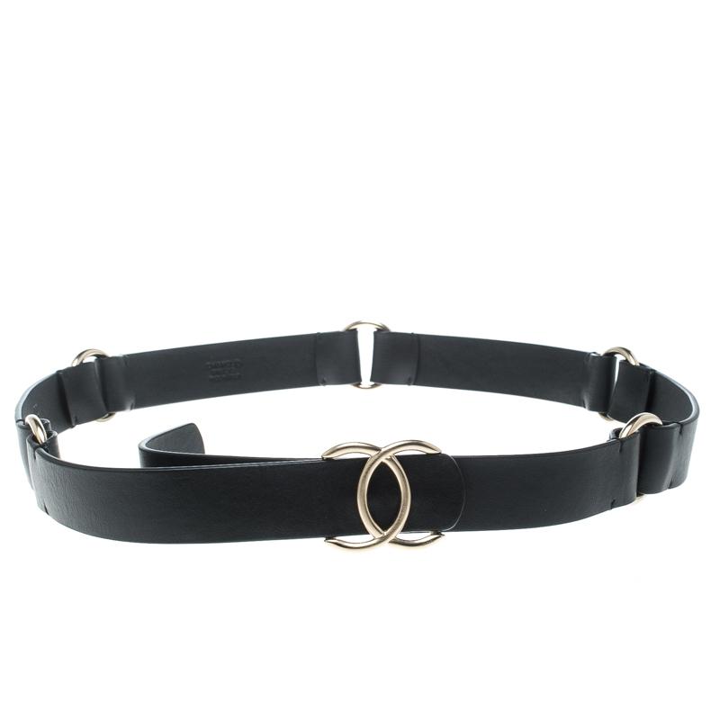Buy Chanel Black Leather CC Belt 90cm 158201 at best price  3212565320