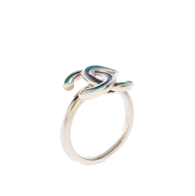 Chanel CC Blue Enamel Silver Tone Ring Size 52