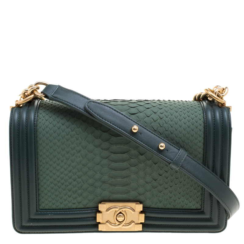 85a8161bb7fd Buy Chanel Green Python Medium Boy Bag 113037 at best price | TLC