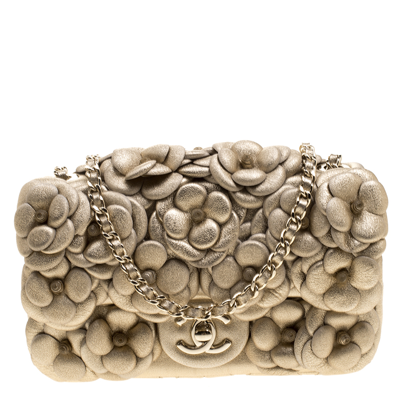 2d7fe34ad0e9 ... Chanel Gold Camellia Quilted Leather Mini Classic Flap Bag. nextprev.  prevnext