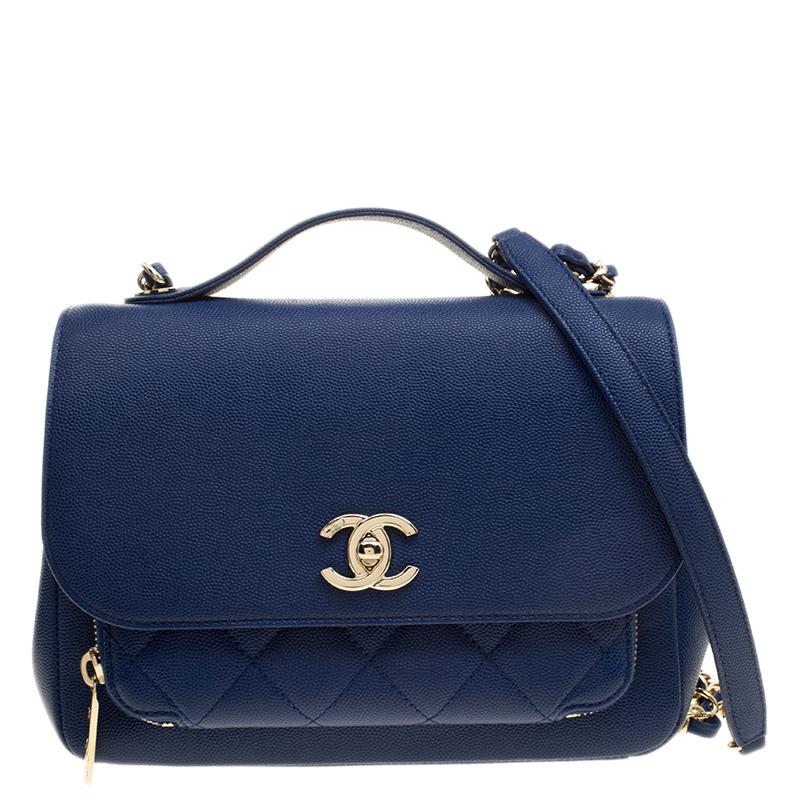 8ec0e0815427 Buy Chanel Blue Leather Top Handle Flap Shoulder Bag 134076 at best ...