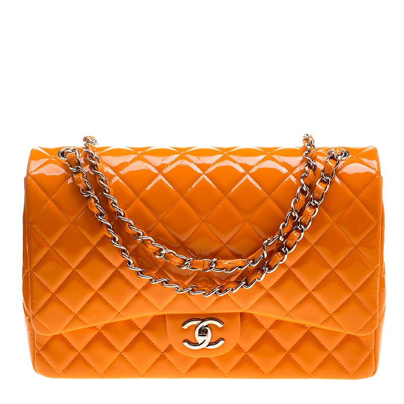 1fbdb9e7c62e ... Chanel Orange Quilted Patent Leather Maxi Classic Double Flap Bag.  nextprev. prevnext