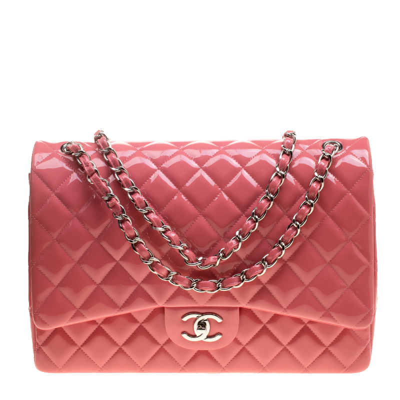 675ed975b1d9 ... Chanel Pink Quilted Patent Leather Maxi Classic Double Flap Bag.  nextprev. prevnext