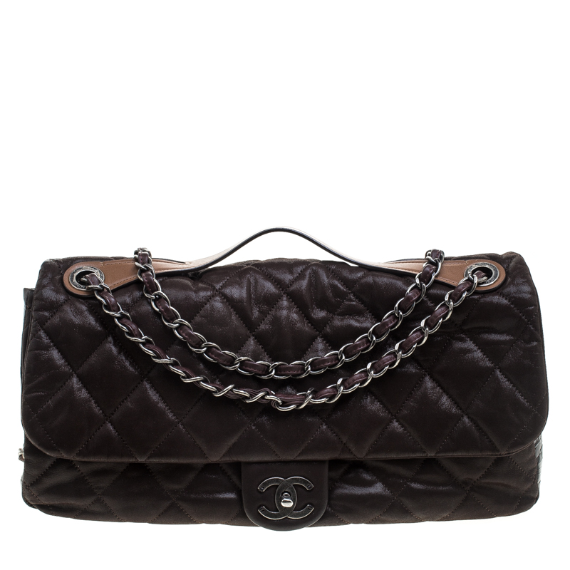 7cae17f94bb4 Buy Chanel Dark Brown Iridescent Quilted Leather Jumbo In The Mix ...