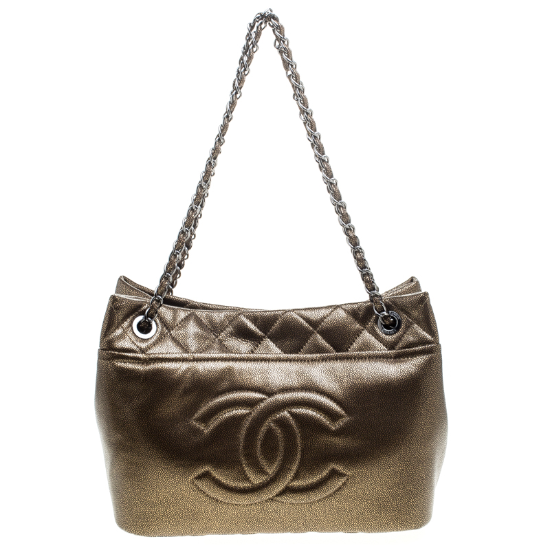 24b14d29ebbbf5 ... Chanel Bronze Leather Timeless CC Soft Shopping Tote. nextprev. prevnext