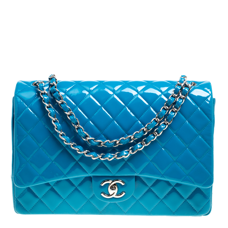 893c9565df26 ... Chanel Turquoise Quilted Patent Leather Maxi Classic Double Flap Bag.  nextprev. prevnext