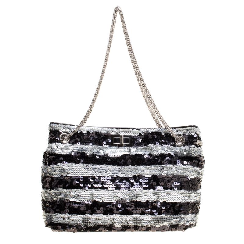 82f1e1903602 ... Chanel Black/Grey Striped Sequins Small Reissue Tote. nextprev. prevnext