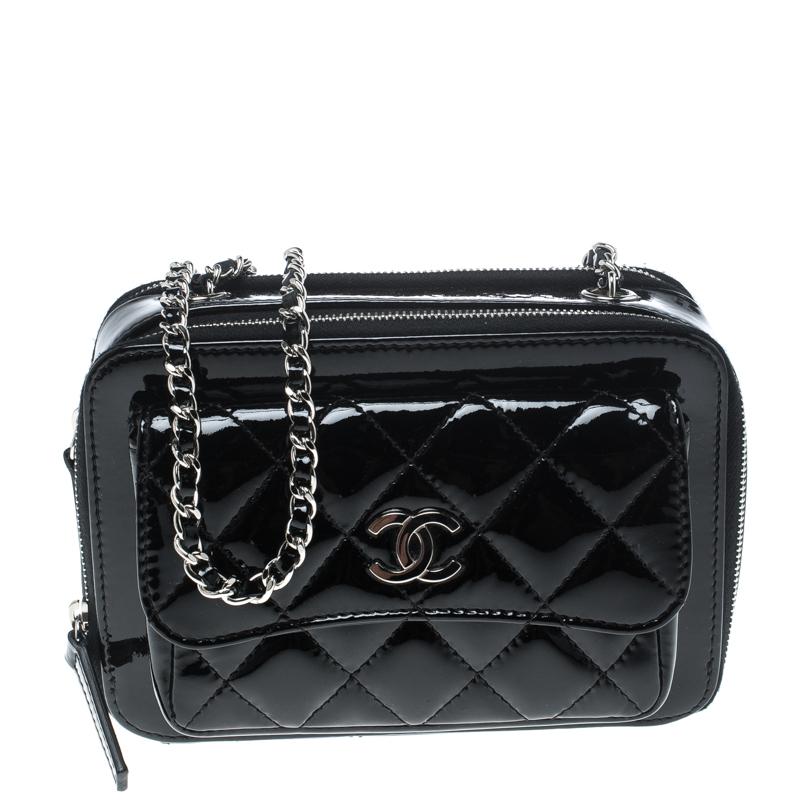 14e2baa01159 ... Chanel Black Quilted Patent Leather Mini Camera Pocket Box Case Shoulder  Bag. nextprev. prevnext