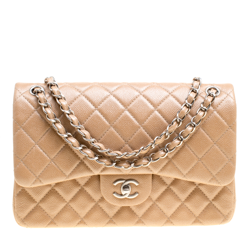 Chanel Pearly Beige Quilted Leather Jumbo Classic Double Flap Bag