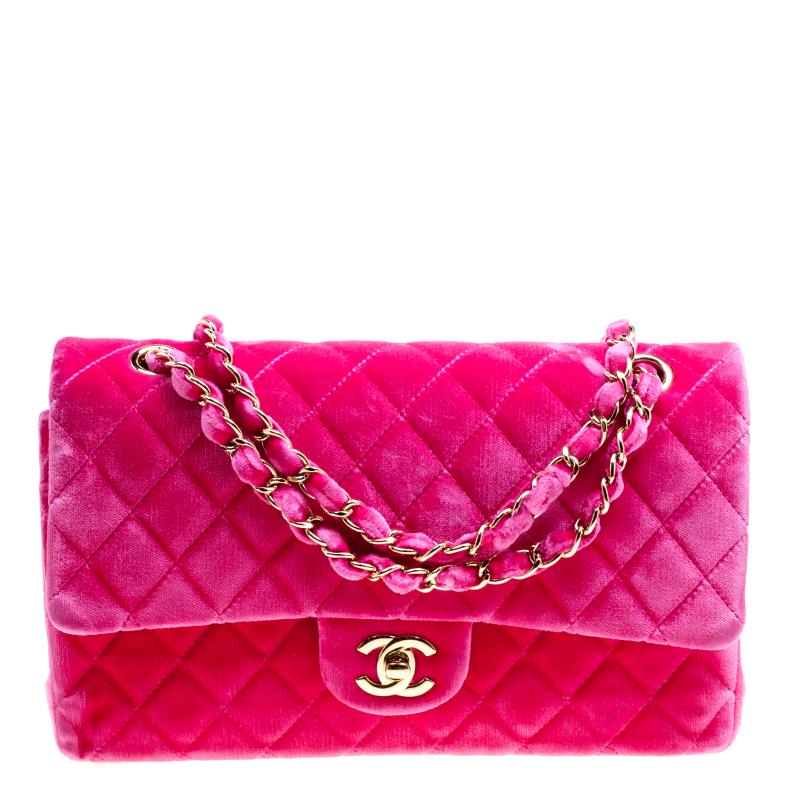 43b7ae3da32e Buy Chanel Fuschia Pink Quilted Velvet Medium Classic Double Flap ...