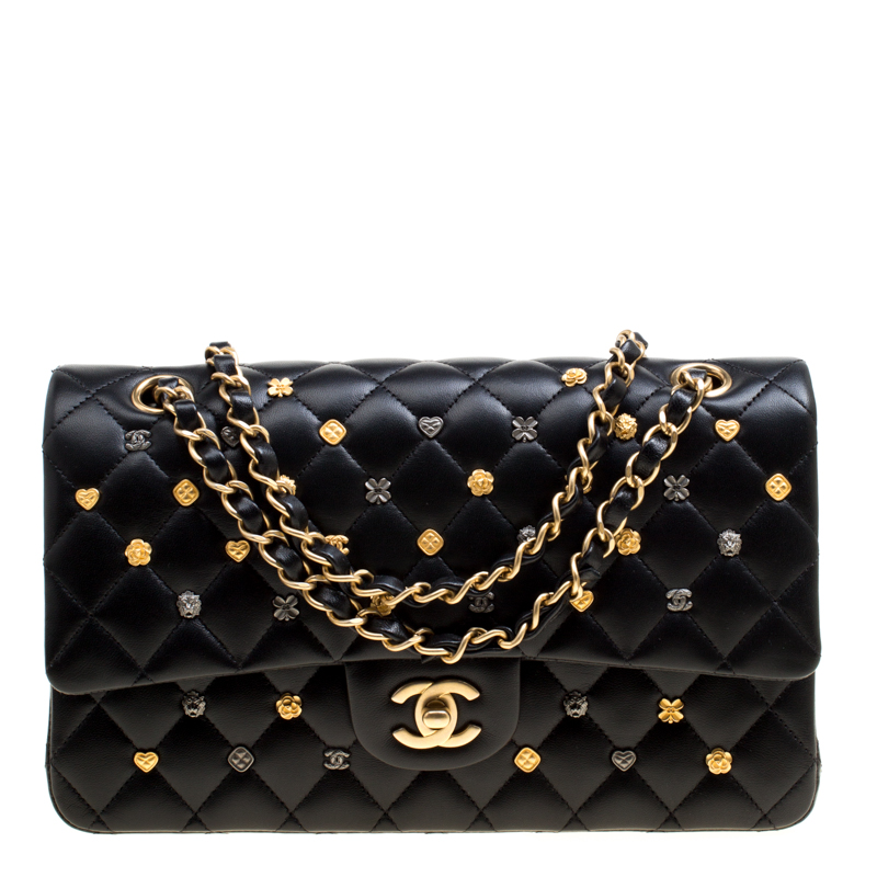 fb127f45b560 Buy Chanel Black Leather Medium Classic 18K Charms Double Flap Bag ...