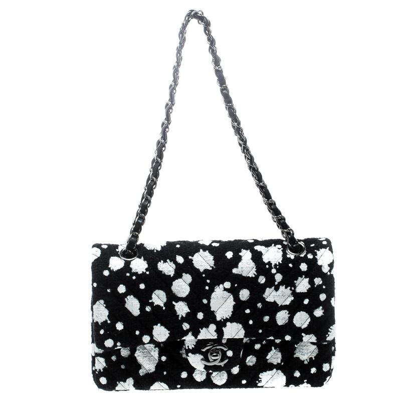 8866ca79fee5 ... Chanel Black/White Splatter Paint Tweed Medium Classic Double Flap Bag.  nextprev. prevnext
