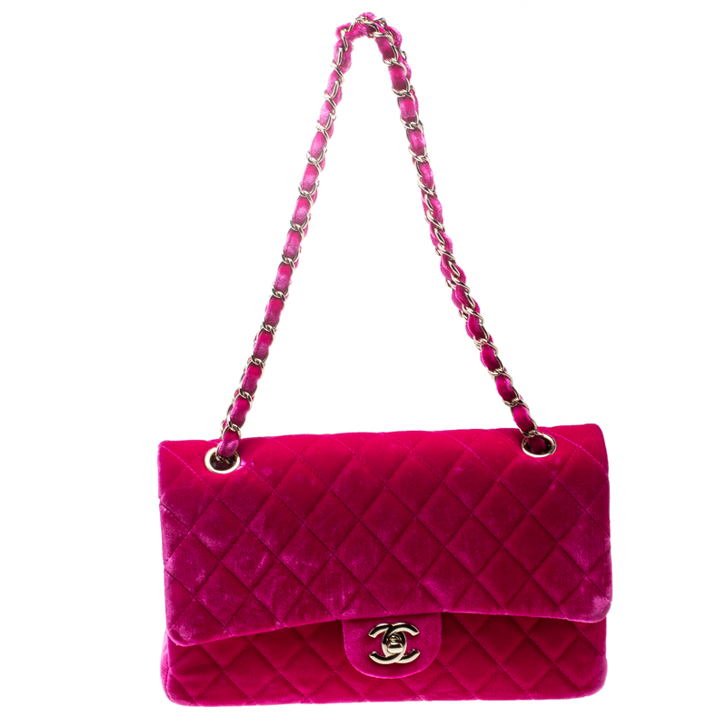 b6066663aa75 ... Chanel Fuchsia Pink Quilted Velvet Medium Classic Double Flap Bag.  nextprev. prevnext