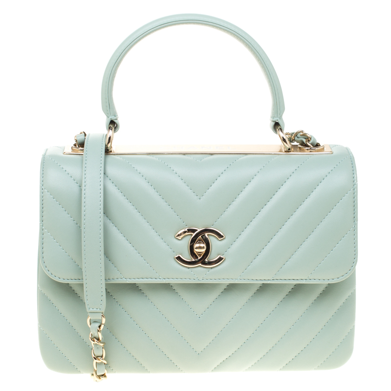 4dcae64727affb ... Chanel Mint Green Chevron Quilted Leather Top Handle Bag. nextprev.  prevnext