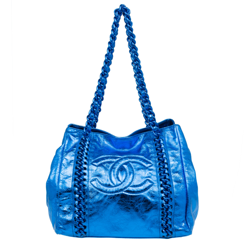 ... Chanel Metallic Blue Cracked Calfskin Leather Small Modern Chain Tote  Bag. nextprev. prevnext 7228531bb1f21