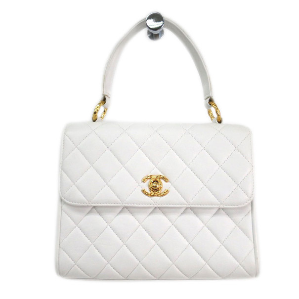 7397c7a5f1e3 Buy Chanel White Lambskin Top Handle Bag 6076 at best price
