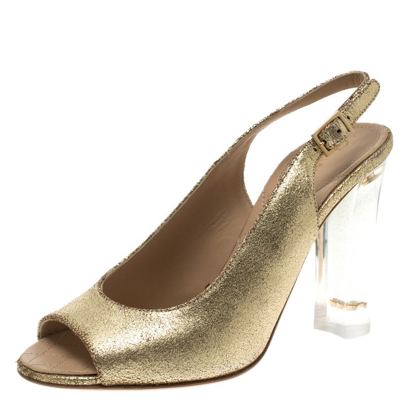 10a6ce829c Buy Chanel Gold Crackled Leather Glitter CC Lucite Heel Peep Toe ...