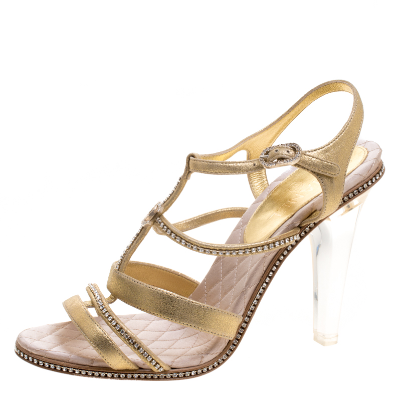 Buy Chanel Metallic Gold CC Crystal Embellished Suede Lucite Heel ...