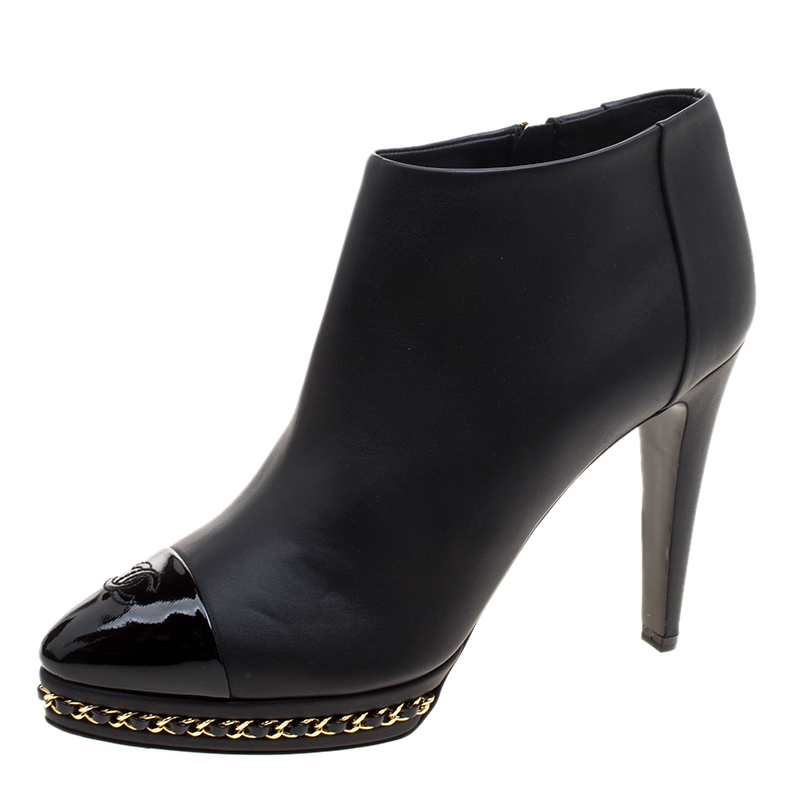 d7cf0bad42c7 ... Chanel Black Leather CC Chain Link Ankle Booties Size 39.5. nextprev.  prevnext