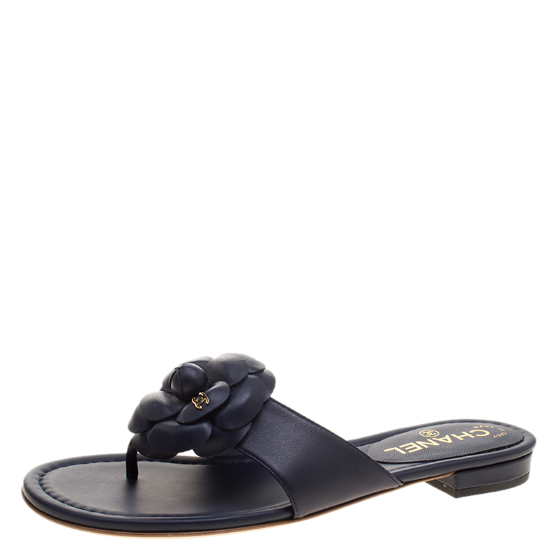47f0fc80e66f ... Buy Chanel Navy Blue Leather CC Camellia Flower Flat Thong Sandals
