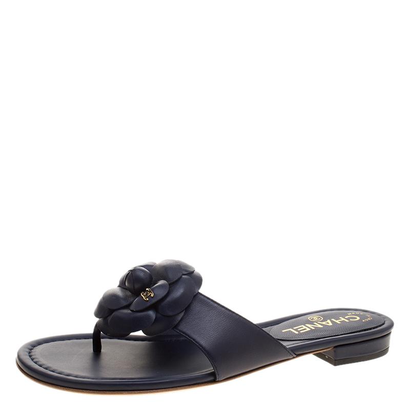ade0c1da3 ... Chanel Navy Blue Leather CC Camellia Flower Flat Thong Sandals Size 38.  nextprev. prevnext