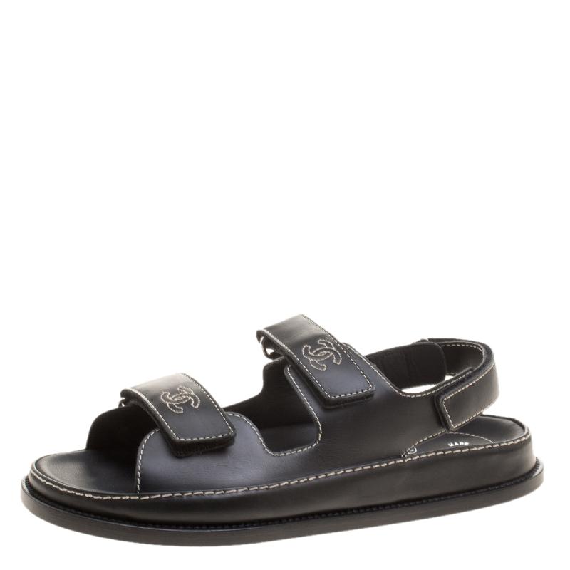 Chanel Black Leather CC Velcro Flat