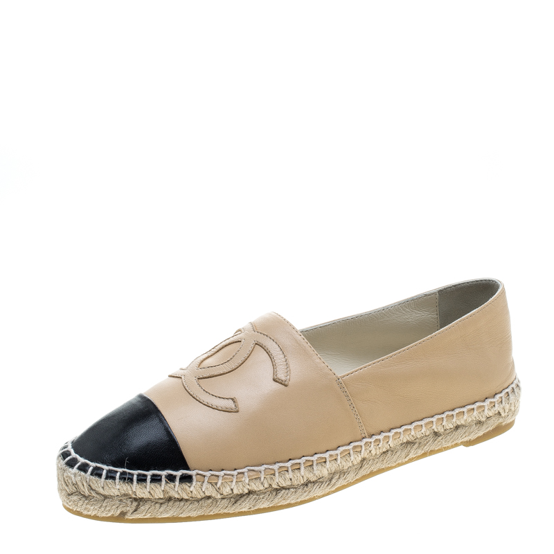 Chanel Beige and Black Leather CC Espadrilles Size 38