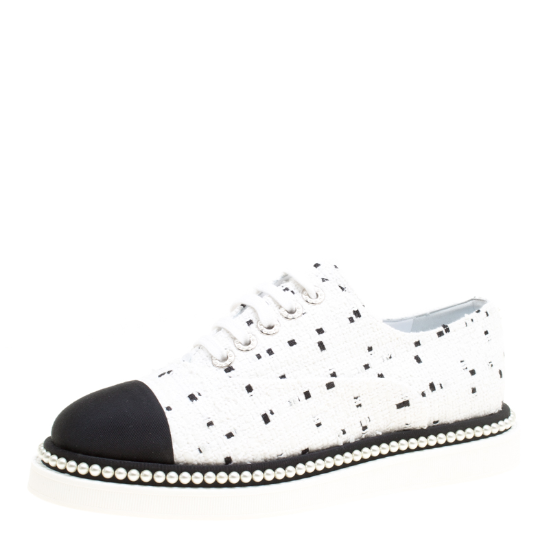 ce08835d595d Buy Chanel Monochrome Tweed and Canvas Cap Toe Faux Pearl Trim ...