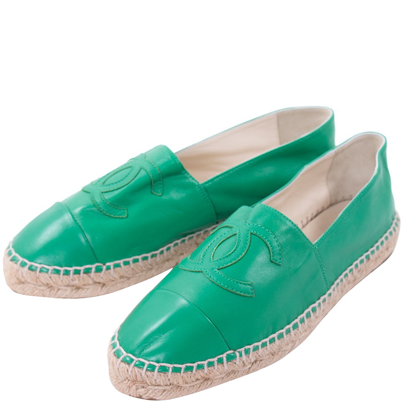 Chanel Green Lambskin Leather CC Espadrilles Size 39