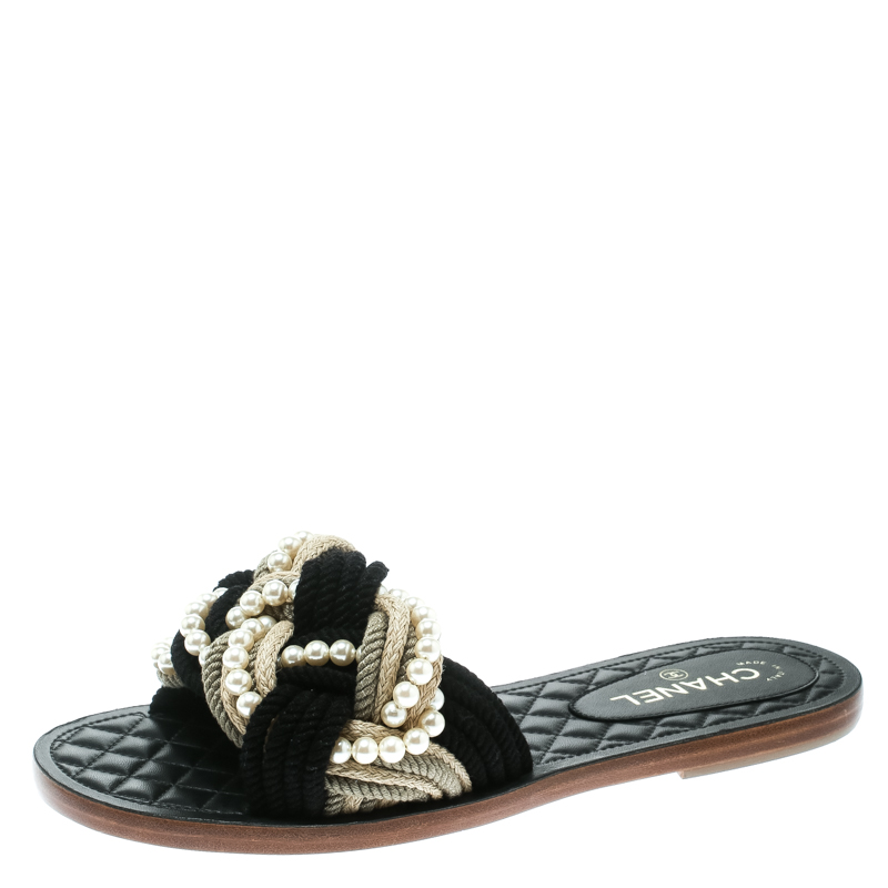 33f7e7c29819 Buy Chanel Two Tone Rope With Faux Pearls Cuba Slide Sandals Size 42 177732  at best price