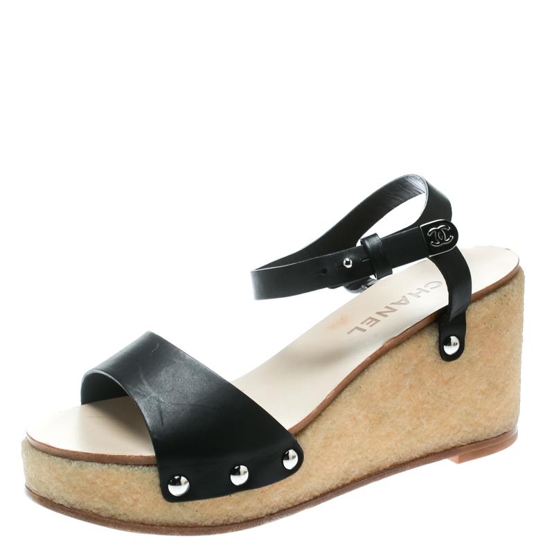 d90ab17187b4 ... Chanel Black Leather Ankle Strap Platform Wedge Sandals Size 39.5.  nextprev. prevnext