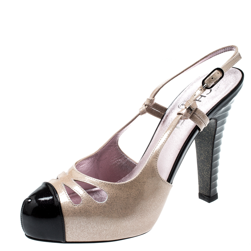 c8d39aad03b8b Buy Chanel Beige/Black Glitter Textured Patent Leather Cut Out ...