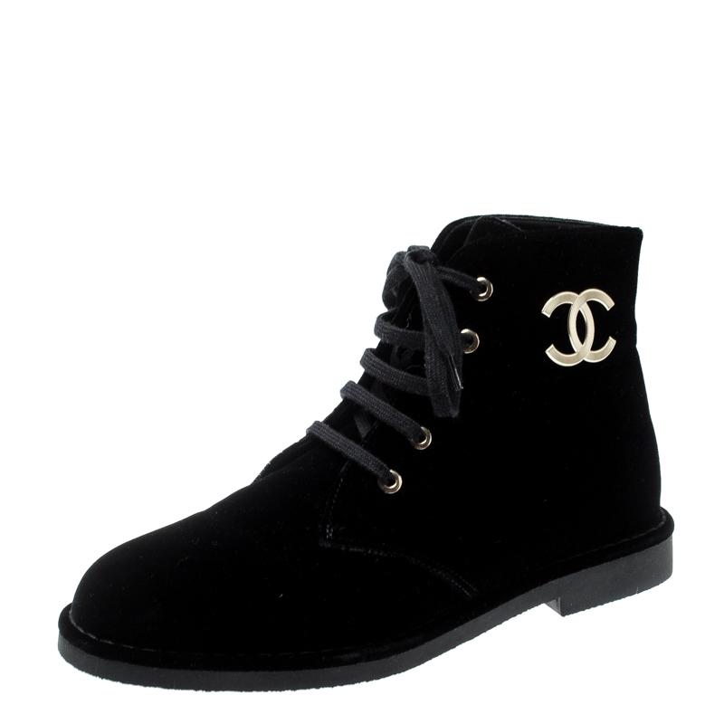 Chanel Black Velet CC Desert Ankle