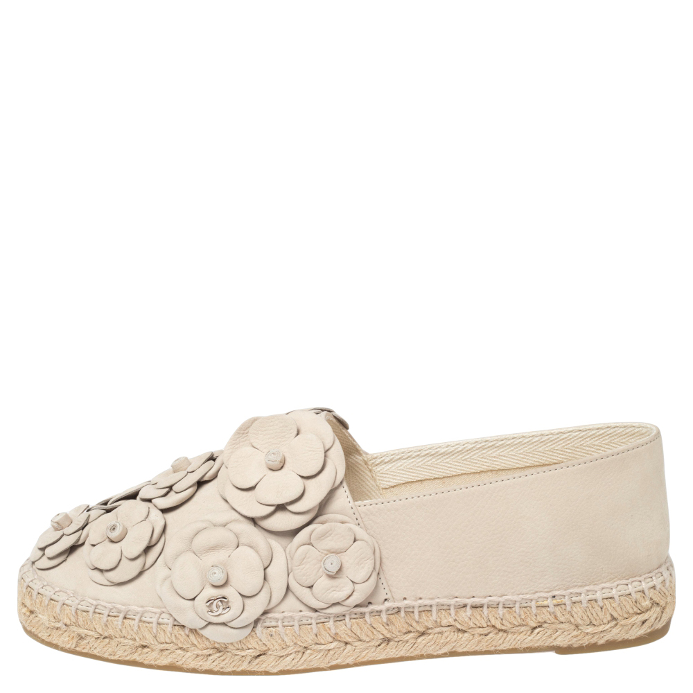 Chanel Grey Nubuck CC Camellia Espadrilles Size 41
