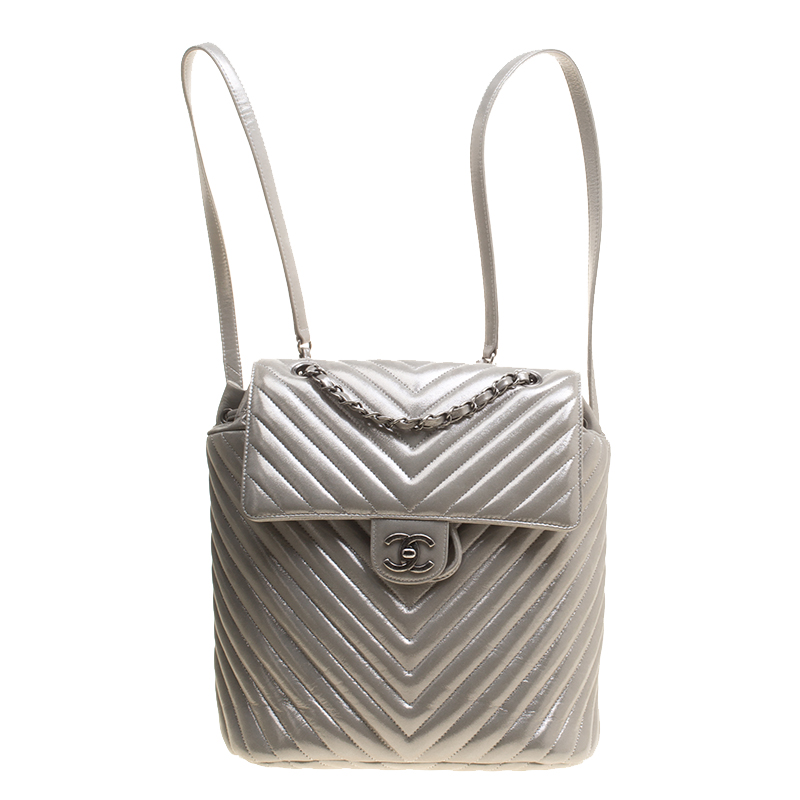 3ea66a7a2a56 Buy Chanel Silver Chevron Quilted Leather Urban Spirit Backpack ...