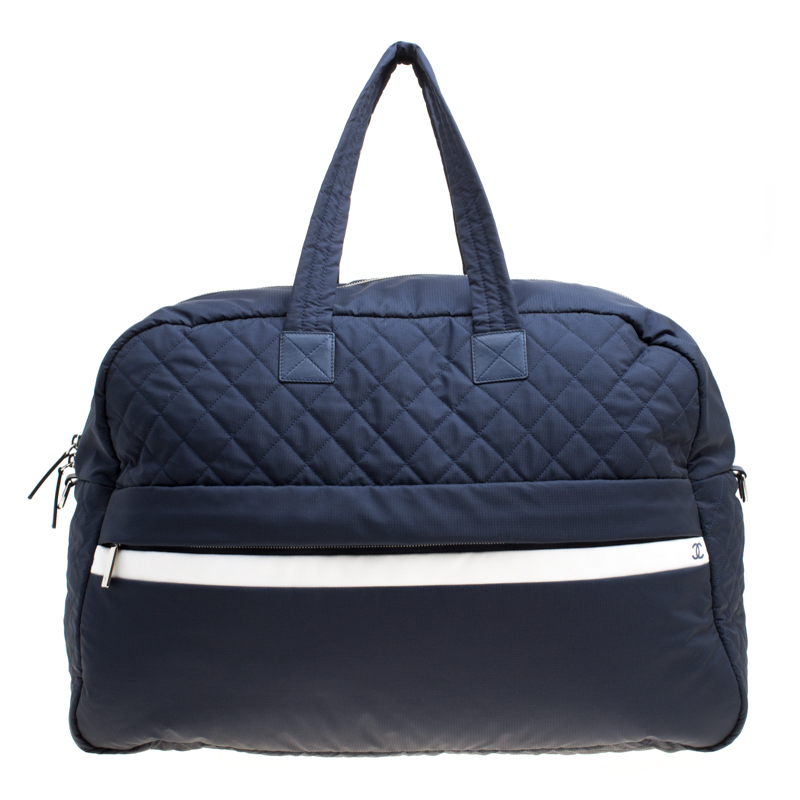 Chanel Navy Blue Nylon Sport Line Front Zip Weekender Travel Bag