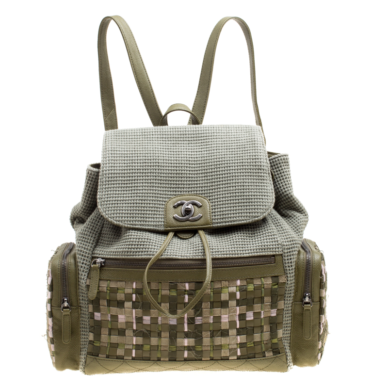 5163108b16a2 ... Chanel Khaki Women Canvas and Leather Cuba Pocket Backpack. nextprev.  prevnext