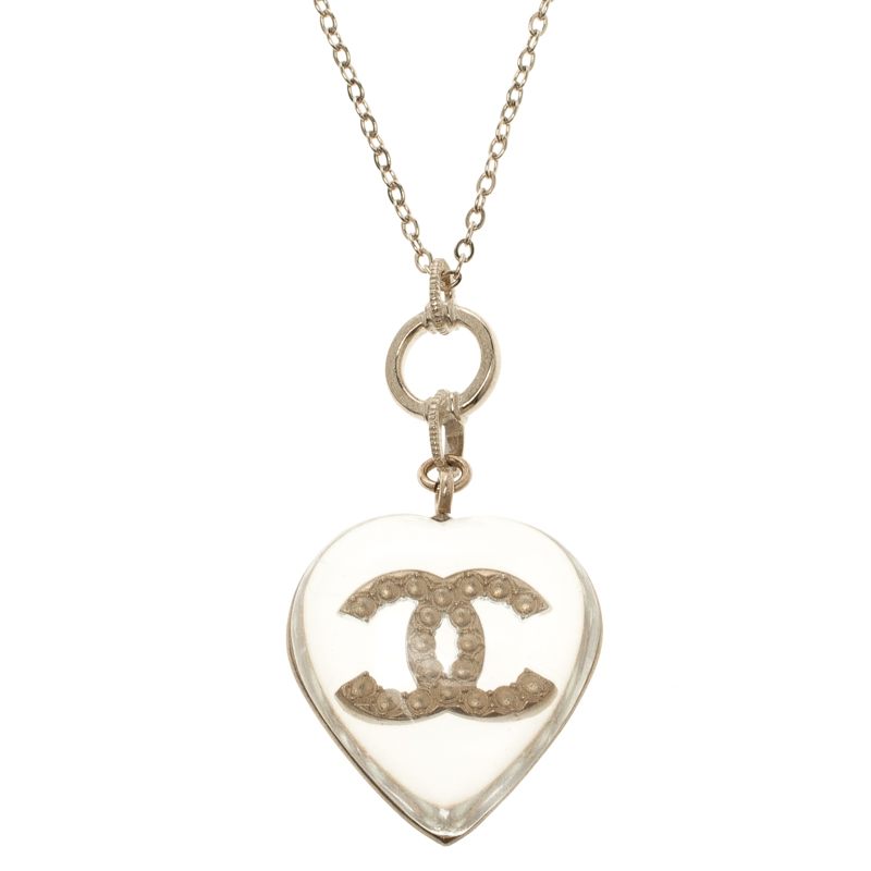 5e88c7d07a09 Buy Chanel Faux Pearl Clear Resin Heart Pendant Necklace 109732 at ...