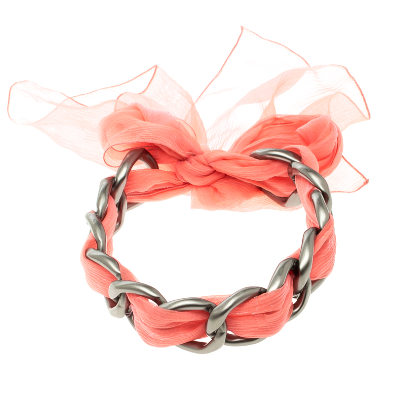 Buy Chanel Chain Link Pink Fabric Self Tie Choker Necklace 112652 at ... 6523e4ec50