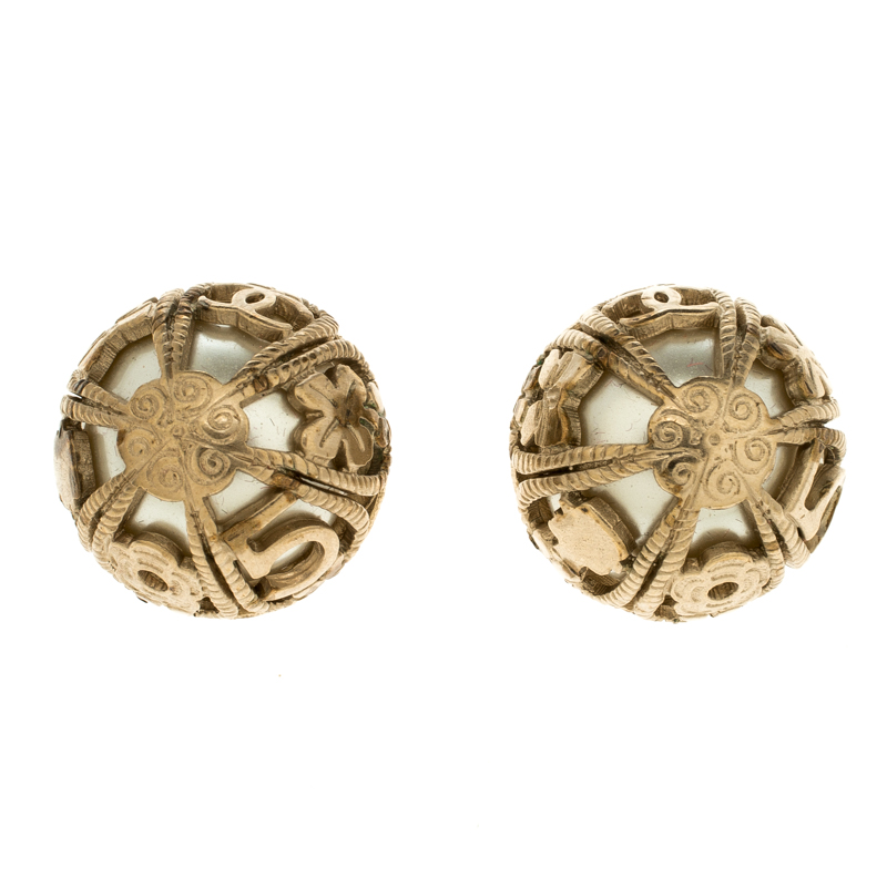 Chanel Faux Pearl Gold Tone Dome Stud Earrings