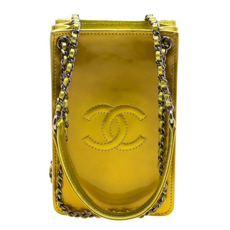 c03d7916b6bb62 ... Chanel Metallic Yellow Patent Leather Phone Holder with Chain.  nextprev. prevnext