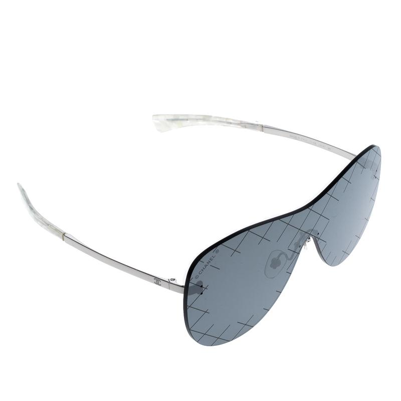 bdc5ce8494 ... Chanel Silver Black 71158 Mirror Quilted Rimless Shield Sunglasses.  nextprev. prevnext